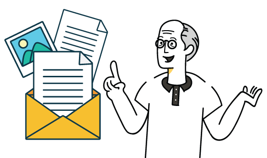 Newsletter subscription image with old wise man and mail icons